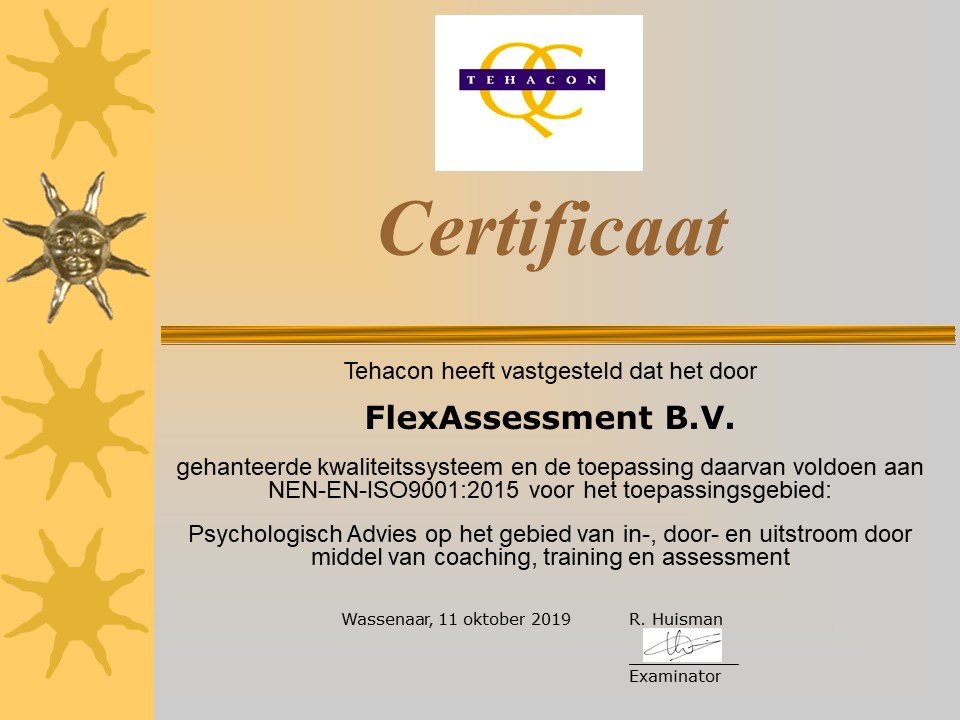 Certificaat ISO9001 - FlexAssessment B.V.